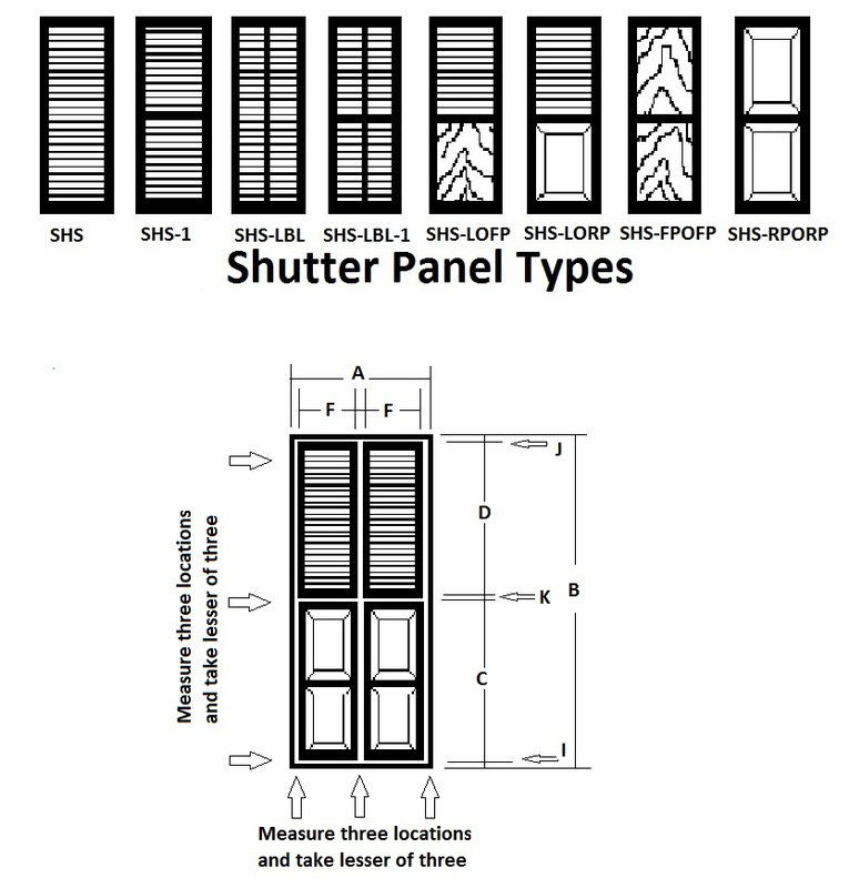 Note That Our Shutter Parts Are Separated Into Five Shutter Heights And  Eight Shutter Widths. The Sizes Are Standardized So That Any Window Opening  Can Be ...